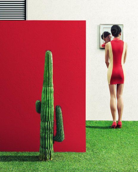 """Unter dem Titel """"In the Garden"""" hat Clemens Ascher eine ganze Bildserie produziert. Der gebürtige Österreicher lebt und arbeitet in London, seine Serie entstand in einem Studio vor Ort, wo ein Set-Designer eigens die Kulissen kreierte. Kulissen, die mit Luxus-Gärten für Luxus-Menschen spielen, aber deren Künstlichkeit und Inszenierung entlarven. """"Die Bilder sind sehr grafisch gebaut"""", erläutert der Fotograf. """"Starke Farben und markante Texturen spielen eine wichtige Rolle."""" Die Texturen wurden in der Post Production besonders herausgearbeitet, außerdem kümmerte sich Aschers Team um einen einheitlichen Look. Im Studio sorgten zwei 3,5 m große Reflektoren für eine globale Aufhellung, Akzente entstanden mithilfe von hartem Licht sowie schwarzen und weißen Flags. """"Alle Bilder der Serie sind durchgängig scharf mittels Scheimpflug und geschlossener Blende"""", so Ascher. www.clemensascher.com"""