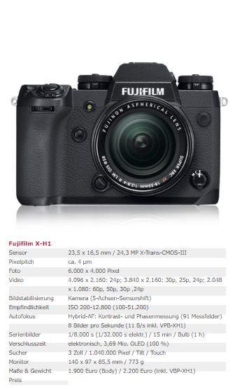 Fujifilm X - H1
