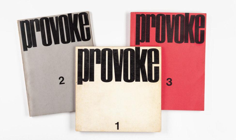PROVOKE Tokyo, selfpublished, 1968-1969 First edition collection of PROVOKE Magazin Vol 1-3, signed by Daido Moriyama ( Vol.2), Takuma Nakahira (Vol.1) and Yutaka Takanashi (Vol.2) Vol 1: soft cover, 21 x 20,9 cm, 68 pages Vol 2: soft cover, 18 x 24,3cm, 108 pages Vol 3: soft cover with fold-out front cover, 18,4 x 23, 9 cm,112 pages including two fold-out pages Schätzpreis 30.000–35.000 Euro © Westlicht Photo Auction