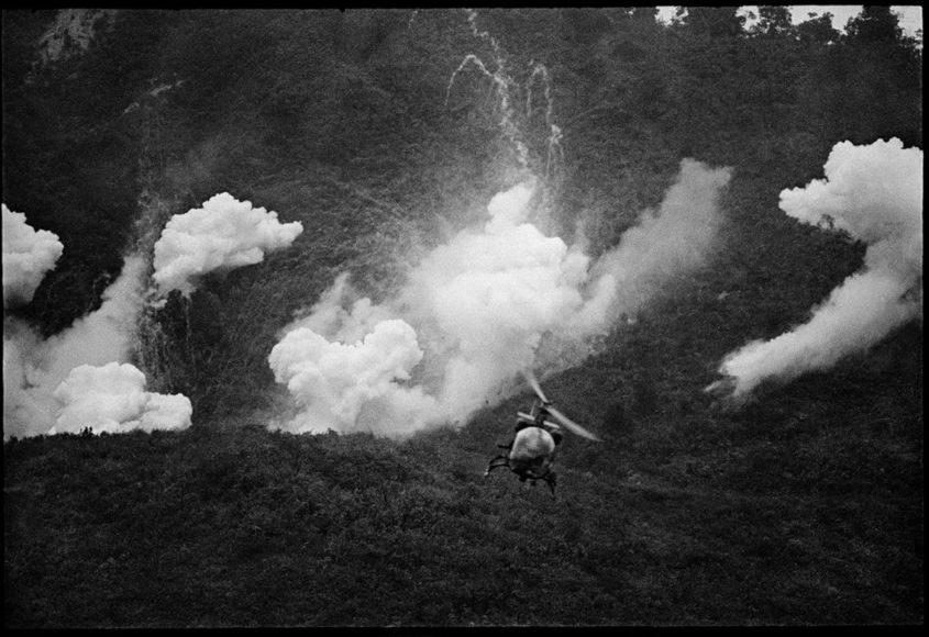 "Catherine Leroy, ""US helicopter over rice paddies, Mekong Delta, Vietnam, c. January 1967"". © Dotation Catherine Leroy"