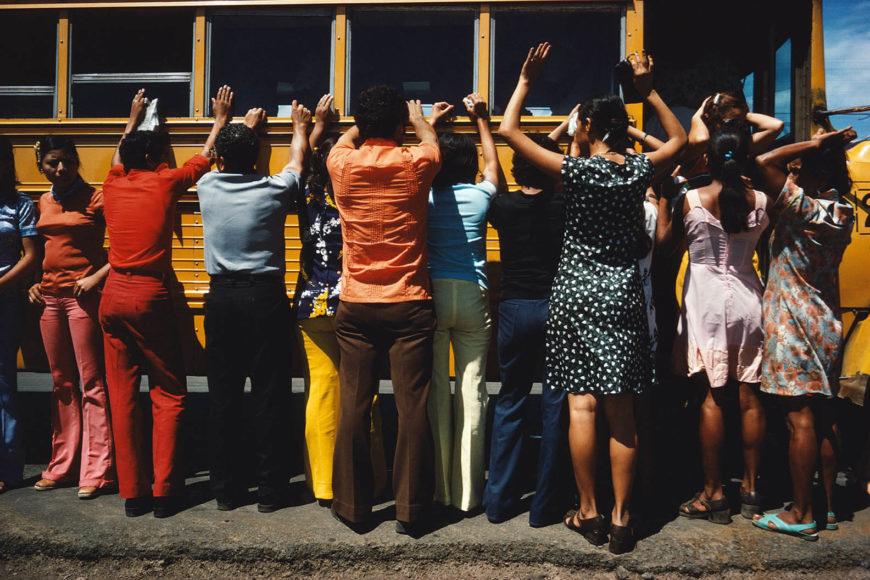 """Susan Meiselas, """"Searching everyone travelling by car, truck, bus or foot, Ciudad Sandino, Nicaragua, 1978"""". © Susan Meiselas/Magnum Photos"""