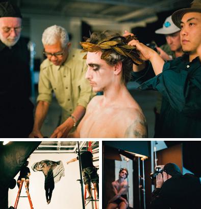 Meisterfotograf trifft Meistertänzer (im Uhrzeigersinn): Albert Watson (mit Baseballkappe und Brille) mit Sergei Polunin bei Regieanweisungen, in der Maske, bei den Aufnahmen zum Porträt und bei der Verabschiedung nach dem Shooting.