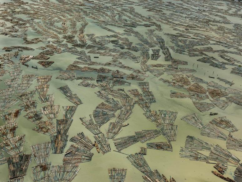 Christophe Guye Galerie: Edward Burtynsky Saw Mills #3, Log Booms, Lagos, Nigeria, 2016.