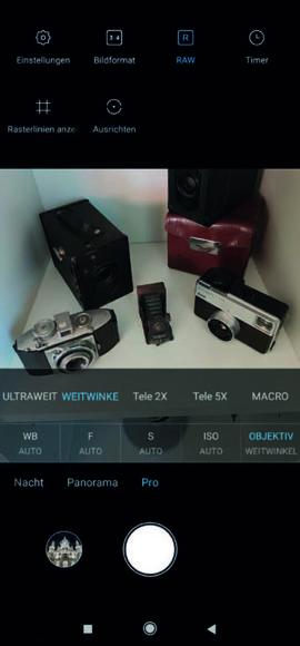 Selbst im RAW-Modus bietet das Xiaomi Mi Note 10 verschiedene Brennweiten zur Wahl. Das können nur die wenigsten Smartphones.