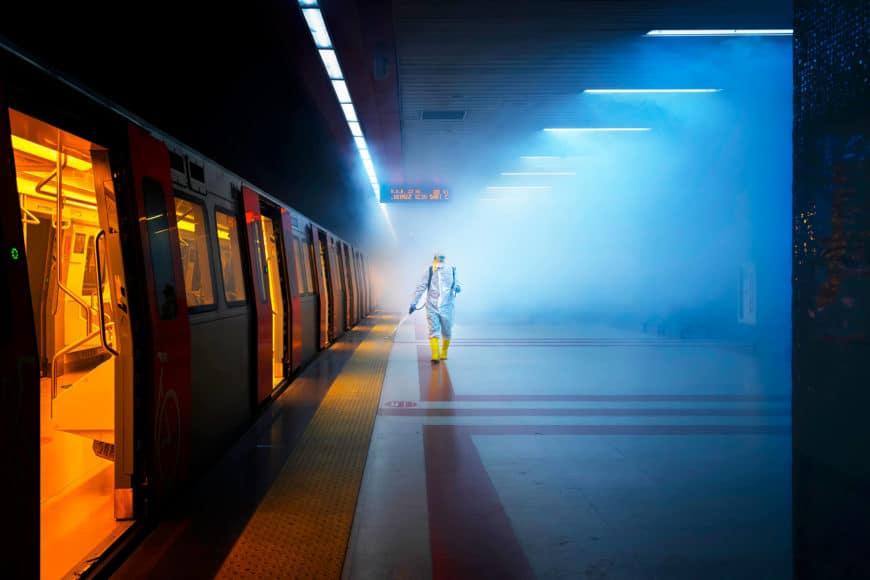 Disinfection. © F.Dilek Uyar, Turkey, Category Winner, Open, Street Photography, 2021 Sony World Photography Awards.