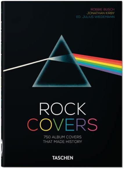 Rock Covers. 40th Anniversary Edition. Robbie Busch, Jonathan Kirby, Julius Wiedemann.  Hardcover, 15,6 x 21,7 cm. 1,47 kg, 512 Seiten. ISBN 978-3-8365-7643-7 (Deutsch, Englisch, Französisch).  www.taschen.de