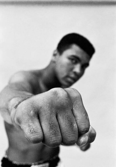 © Thomas Hoepker, Muhammad Ali, Showing Off His Right Fist, Chicago, 1966, Courtesy of CAMERA WORK Gallery.