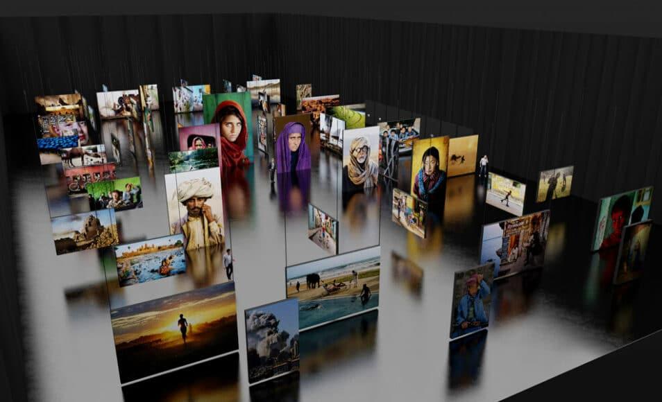 Eine Renderingaufnahme der Ausstellung mit den Bildern in gigantischer Größe: Insgesamt stehen für die Ausstellung 2.200 m2 zur Verfügung. Die Bildformate sind zwischen 2 x 3 m und 4 x 6 m, alleine die Bildflächen aller 140 Arbeiten betragen insgesamt 1.188 m2 und jedes einzelne dieser farbintensiven Bilder ist hinterleuchtet. Alle ausgestellten Bilder können in verschiedenen Formaten und Präsentationsmöglichkeiten erworben werden.