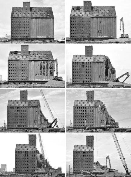 3.PLATZImmer wieder brachte uns Steffen Ebert auf den neuesten Stand, was den Abriss dieses Speichers betrifft. Das Langzeitprojekt zeichnet sich durch seine klare Bildsprache aus, durch die frontale Ansicht, den strengen Ausschnitt, die Kontraste in Schwarz-Weiß. Nun hat er einige Aufnahmen zu einer Collage zusammengefasst, in der er die brachiale Entwicklung des Niedergangs chronologisch nachbildet. Wer die ganze Bandbreite des vielfach mit renommierten Preisen ausgezeichneten Architekturfotografen kennenlernen will, ist vom 25. August bis zum 25. September in die HofGalerie Moritzhof (Magdeburg) eingeladen.    Canon EOS 5D Mark IV   EF 1,4/50 mm USM   f/11   1/200 s   ISO 100-400