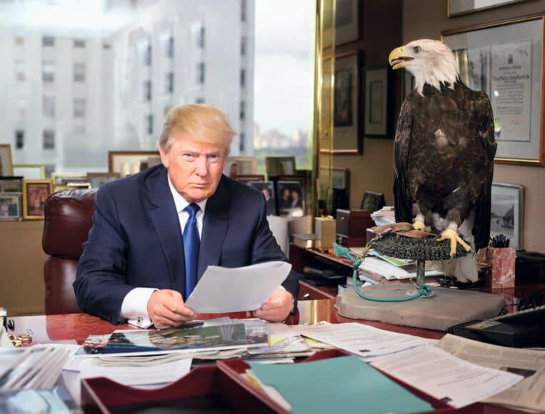 So wollte er sich abgebildet sehen: Als Herrscher und Diener des amerikanischen Volkes mit einem majestätischen Greifvogel an seiner Seite: Donald Trump. Ob er geahnt hat, wie dieses Bild von Martin Schoeller auf seine Kritiker wirken könnte? © Martin Schoeller