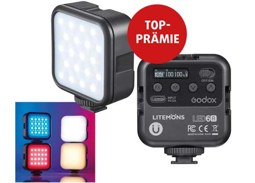 """GODOX LITEMONS LED6R <br><span class=""""zuzahlung"""">Ohne Zuzahlung</span><br><a href=""""godox""""><span class=""""mehrpraemie"""">Mehr</span></a>"""